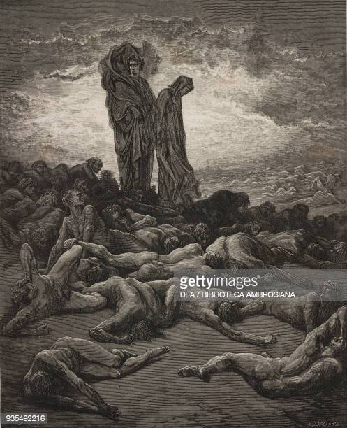 Dante and Virgil passing amongst the wailing souls of the avaricious and prodigals on the Fifth Terrace, engraving by Gustave Dore , Canto XX,...