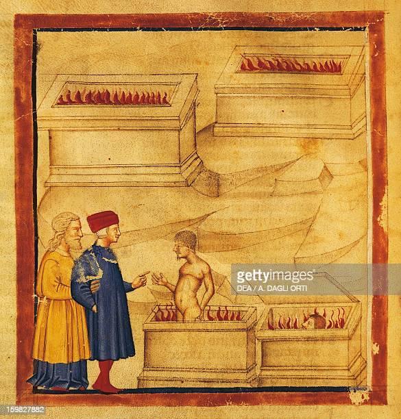 Dante and Virgil talks to Farinata degli Uberti scene from the Canto VI from the Divine Comedy by Dante Alighieri Venetian miniature 14th century...