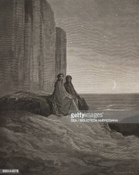 Dante and Virgil under the stars in Ante-Purgatory, engraving by Gustave Dore , Canto IX, Purgatory, Divine Comedy by Dante Alighieri , 1869 edition.