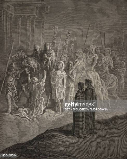 Dante and Virgil witnessing an example of humility when Emperor Trajan stopped to render justice to a widow for her murdered son, marble sculpture on...