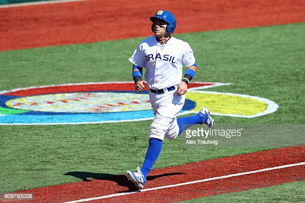 Dante Bichette Jr of Team Brazil scores a run during Game 1 of the 2016 World Baseball Classic Qualifier at MCU Park on Thursday September 22 2016 in...