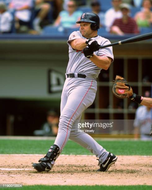 Dante Bichette of the Boston Red Sox bats during an MLB game at Comiskey Park in Chicago, Illinois.