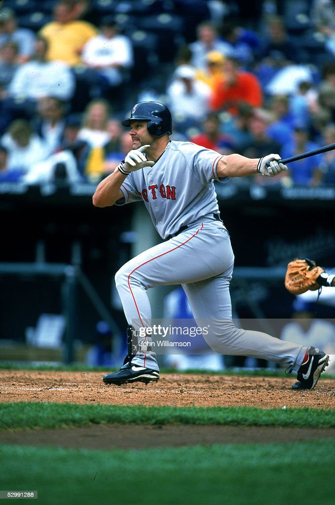 Dante Bichette of the Boston Red Sox bats during an MLB game on May 20, 2001 at Royals Stadium in Kansas City, Missouri.