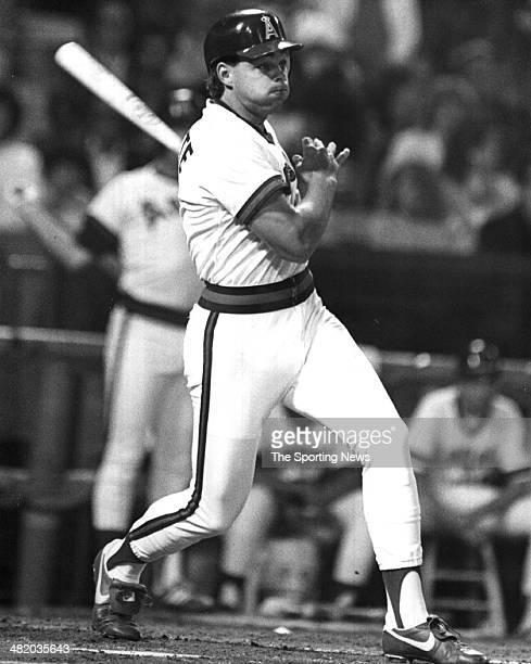 Dante Bichette of the California Angels bats circa 1980s.