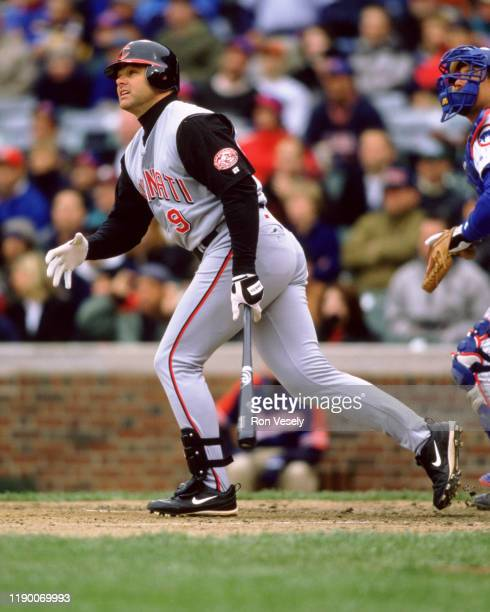 Dante Bichette of the Cincinnati Reds bats during an MLB game versus the Chicago Cubs at Wrigley Field in Chicago, Illinois during the 2000 season.