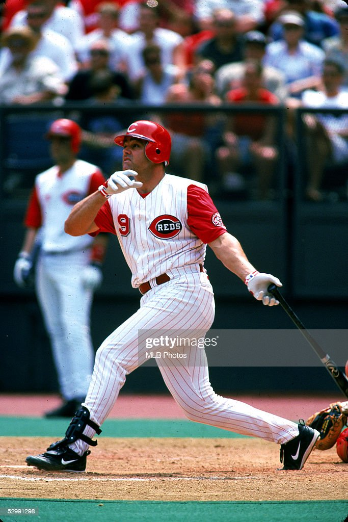Dante Bichette of the Cincinnati Reds hits a home run during an MLB game on May 7, 2000 at Cinergy Field in Cincinnati, Ohio.