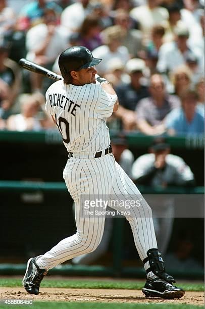 Dante Bichette of the Colorado Rockies bats against the Arizona Diamondbacks at Coors Field on May 22, 1999 in Denver, Colorado.