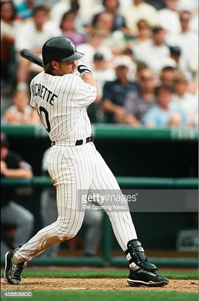 Dante Bichette of the Colorado Rockies bats against the Arizona Diamondbacks at Coors Field on May 22 1999 in Denver Colorado