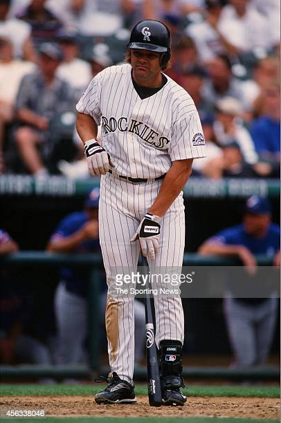 Dante Bichette of the Colorado Rockies bats against the Montreal Expos at Coors Field on August 15 1999 in Denver Colorado