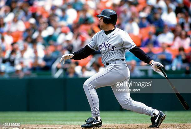 Dante Bichette of the Colorado Rockies bats against the San Francisco Giants during an Major League Baseball game circa 1995 at Candlestick Park in...