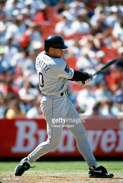 Dante Bichette of the Colorado Rockies bats against the San Francisco Giants during an Major League Baseball game circa 1994 at Candlestick Park in...