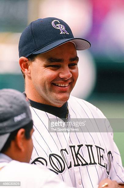 Dante Bichette of the Colorado Rockies during the All-Star Game on July 7, 1998 at Coors Field in Denver, Colorado.