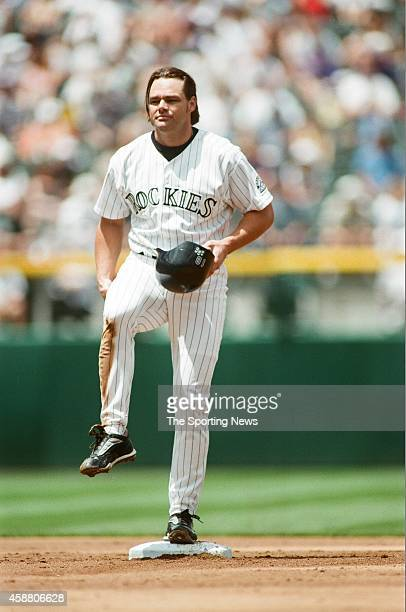 Dante Bichette of the Colorado Rockies looks on against the Arizona Diamondbacks at Coors Field on May 22 1999 in Denver Colorado