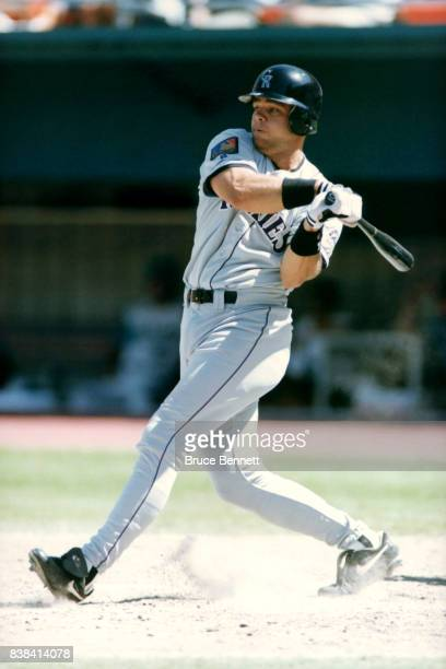Dante Bichette of the Colorado Rockies swings at the pitch during an MLB game circa 1994