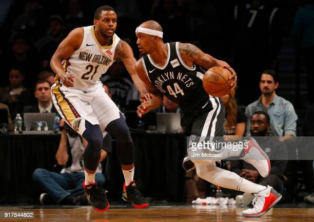 Dante Cunningham of the Brooklyn Nets in action against Darius Miller of the New Orleans Pelicans at Barclays Center on February 10 2018 in the...