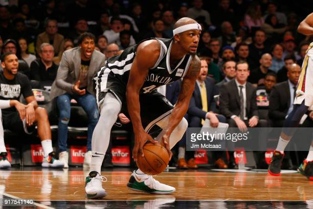 Dante Cunningham of the Brooklyn Nets in action against the New Orleans Pelicans at Barclays Center on February 10 2018 in the Brooklyn borough of...
