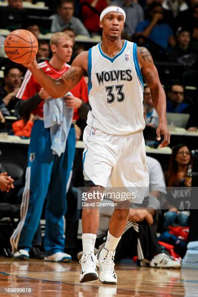 Dante Cunningham of the Minnesota Timberwolves looks to pass the ball against the New York Knicks at Target Center in Minneapolis Minnesota on...
