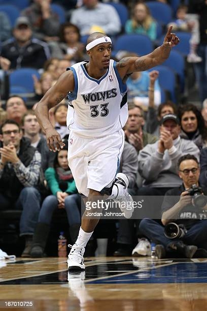 Dante Cunningham of the Minnesota Timberwolves runs up the court against the Phoenix Suns on April 13 2013 at Target Center in Minneapolis Minnesota...