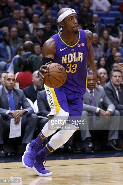 Dante Cunningham of the New Orleans Pelicans drives with the ball druing the first half against the LA Clippers at the Smoothie King Center on...