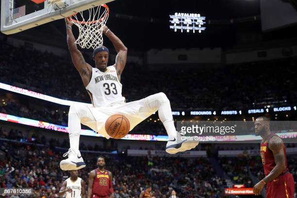 Dante Cunningham of the New Orleans Pelicans dunks the ball against the Cleveland Cavaliers at the Smoothie King Center on October 28 2017 in New...