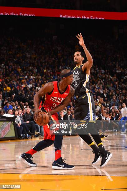 Dante Cunningham of the New Orleans Pelicans handles the ball against the Golden State Warriors on November 25 2017 at ORACLE Arena in Oakland...