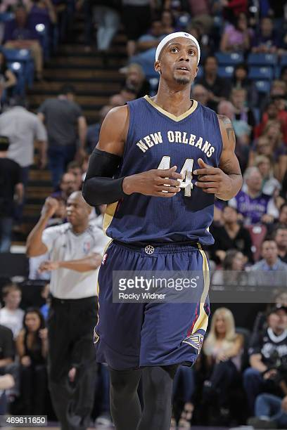 Dante Cunningham of the New Orleans Pelicans looks on during the game against the Sacramento Kings on April 3 2015 at Sleep Train Arena in Sacramento...