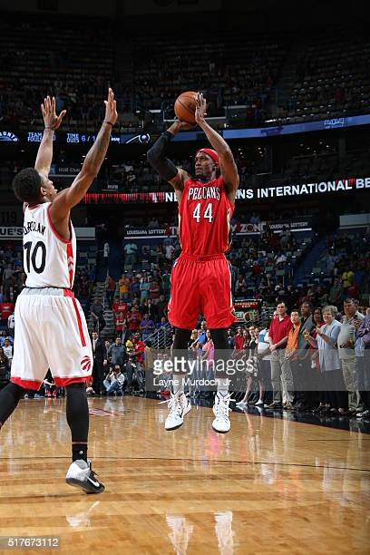 Dante Cunningham of the New Orleans Pelicans shoots the ball against the Toronto Raptors on March 26 2016 at Smoothie King Center in New Orleans...