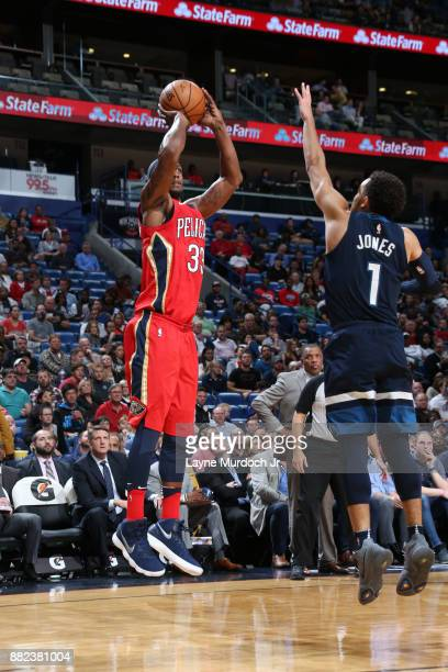 Dante Cunningham of the New Orleans Pelicans shoots the ball against the Minnesota Timberwolves on November 29 2017 at Smoothie King Center in New...