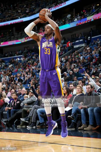 Dante Cunningham of the New Orleans Pelicans shoots the ball during the game against the Sacramento Kings on January 30 2018 at the Smoothie King...