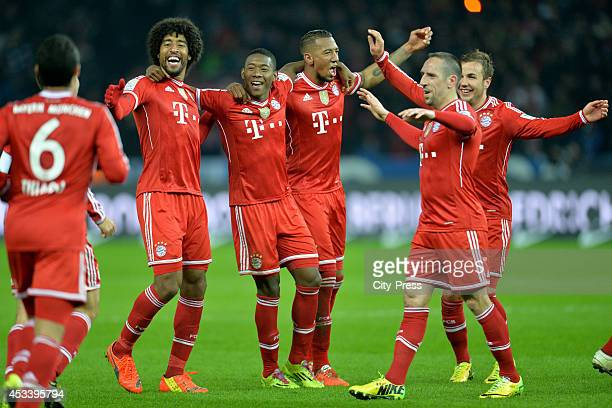 Dante David Alaba Jerome Boateng Franck Ribery and Philipp Lahm celebrate the win during the Bundesliga game between Hertha BSC and Borussia Dortmund...