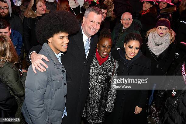 Dante de Blasio, New York Mayor Bill de Blasio, Chirlane McCray and Chiara de Blasio attend New Year's Eve 2015 at Times Square on December 31, 2014...