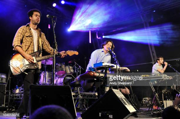 Dante DeCaro, Spencer Krug and Dan Boeckner of Canadian indie-rock band Wolf Parade perform on stage during day one of End Of The Road Festival 2010...