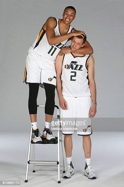 Dante Exum and Joe Ingles of the Utah Jazz poses for a photo during the 20162017 Utah Jazz media day at Zions Bank Basketball Center on September 26...