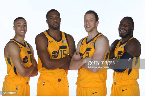 Dante Exum Derrick Favor Joe Ingles and Jae Crowder of the Utah Jazz pose for a portrait at media day on September 24 2018 at the Zions Bank...