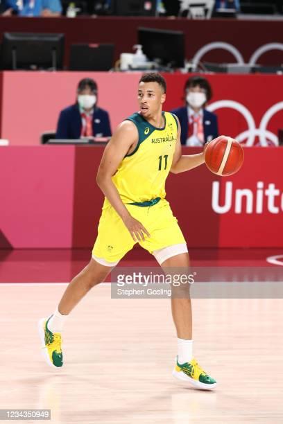 Dante Exum of the Australia Men's National Team dribbles the ball during the game against the Germany Men's National Team during the 2020 Tokyo...