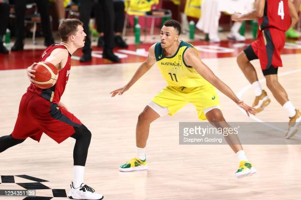 Dante Exum of the Australia Men's National Team plays defense during the game against the Germany Men's National Team during the 2020 Tokyo Olympics...