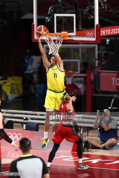 Dante Exum of the Australia Men's National Team shoots the ball during the game against the Germany Men's National Team during the 2020 Tokyo...