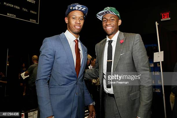 Dante Exum of the Utah Jazz and Jabari Parker of the Milwaukee Bucks smile for the camera at the 2014 NBA Draft on June 26 2014 at the Barclays...