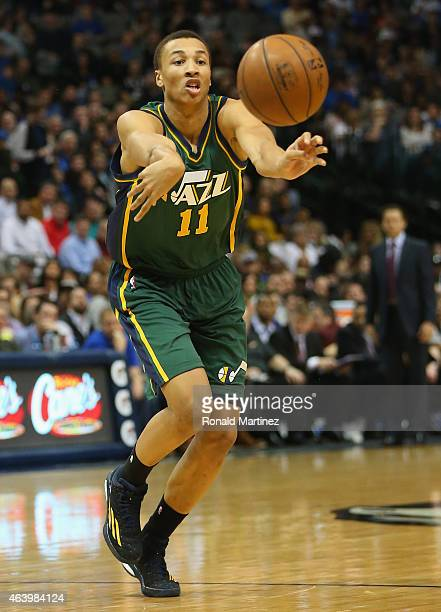 Dante Exum of the Utah Jazz at American Airlines Center on February 11 2015 in Dallas Texas NOTE TO USER User expressly acknowledges and agrees that...