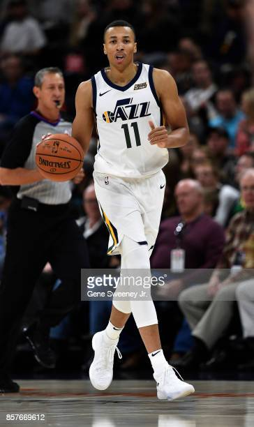 Dante Exum of the Utah Jazz brings the ball up court during the first half against the Maccabi Haifa in preseason action at Vivint Smart Home Arena...