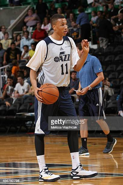 Dante Exum of the Utah Jazz calls a play during an open scrimmage at EnergySolutions Arena on October 06 2014 in Salt Lake City Utah NOTE TO USER...