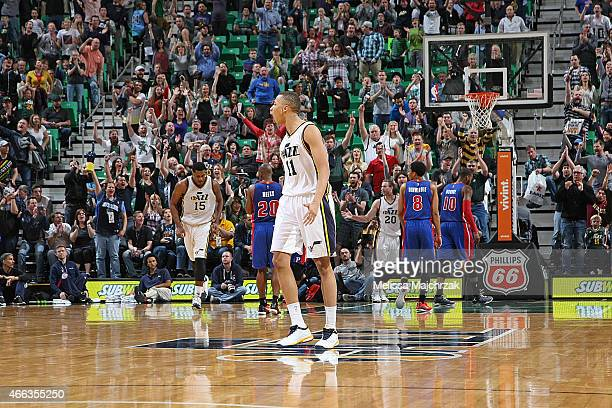 Dante Exum of the Utah Jazz celebrates during the game against the Detroit Pistons on March 14 2015 at EnergySolutions Arena in Salt Lake City Utah...