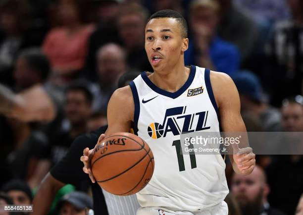Dante Exum of the Utah Jazz controls the ball against the Maccabi Haifa in preseason action at Vivint Smart Home Arena on October 4 2017 in Salt Lake...