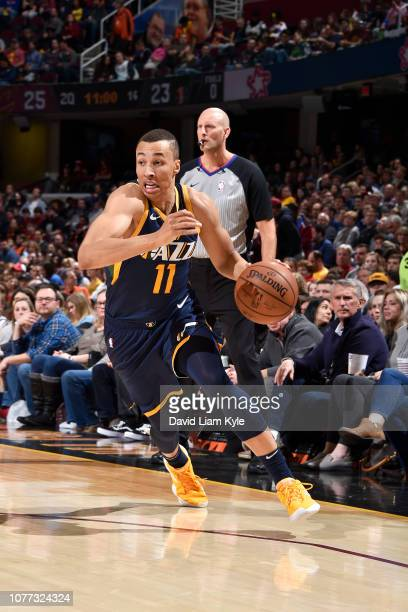 Dante Exum of the Utah Jazz drives to the basket against the Cleveland Cavaliers on January 4 2019 at Quicken Loans Arena in Cleveland Ohio NOTE TO...