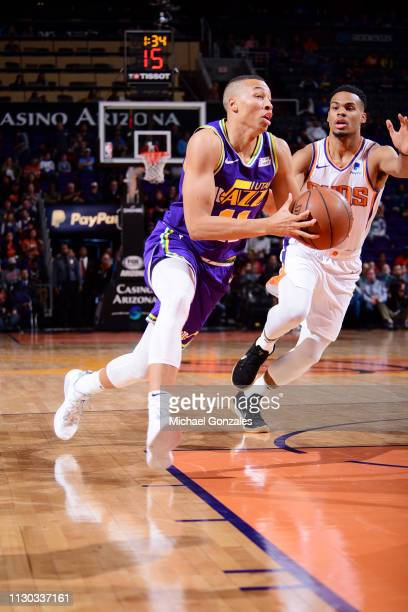 Dante Exum of the Utah Jazz drives to the basket against the Phoenix Suns on March 13 2019 at Talking Stick Resort Arena in Phoenix Arizona NOTE TO...