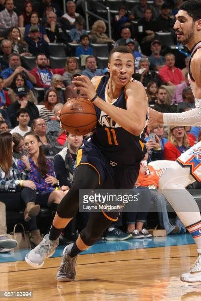 Dante Exum of the Utah Jazz drives to the basket during a game against the Oklahoma City Thunder on March 11 2017 at Chesapeake Energy Arena in...