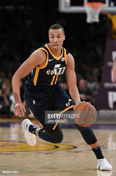 Dante Exum of the Utah Jazz drives to the hoop in the second half at Staples Center on April 8 2018 in Los Angeles California NOTE TO USER User...