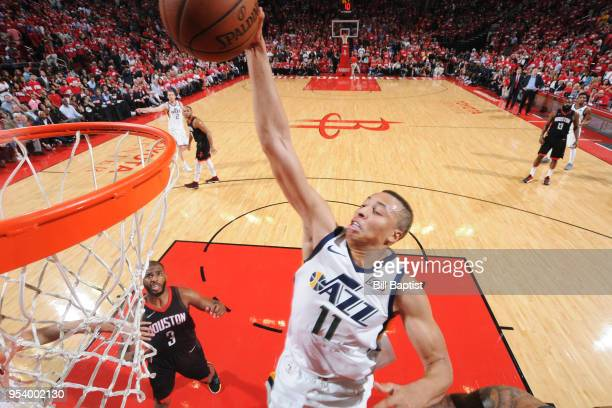 Dante Exum of the Utah Jazz dunks the ball against the Houston Rockets in Game Two of Round Two of the 2018 NBA Playoffs on May 2 2018 at the Toyota...