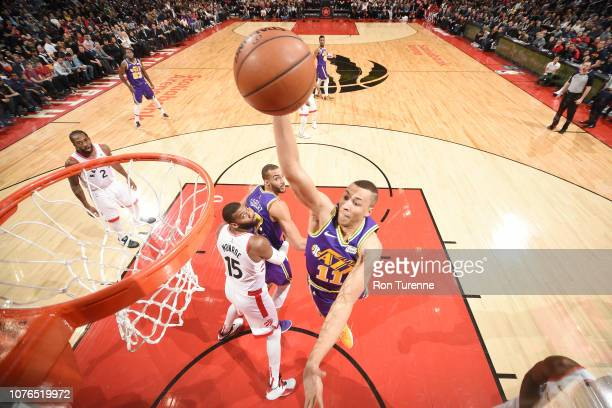 Dante Exum of the Utah Jazz dunks the ball against the Toronto Raptors on January 1 2019 at the Scotiabank Arena in Toronto Ontario Canada NOTE TO...