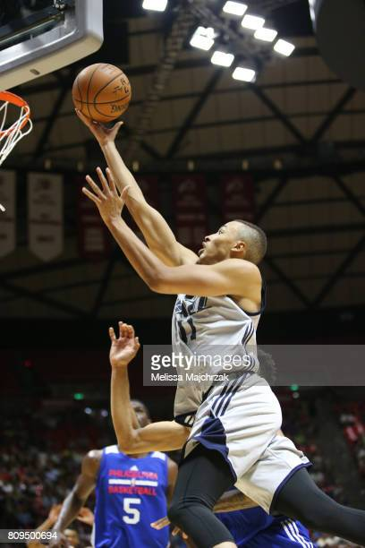 Dante Exum of the Utah Jazz goes to the basket against the Philadelphia 76ers on July 5 2017 during the 2017 NBA Utah Summer League game at the Jon M...